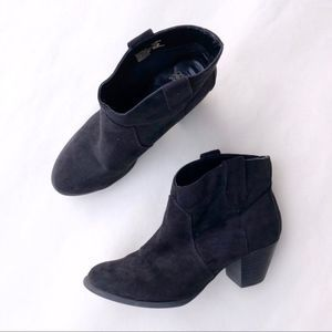 2/$22 Faded Glory Black Ankle Bootie Suede Boot  8